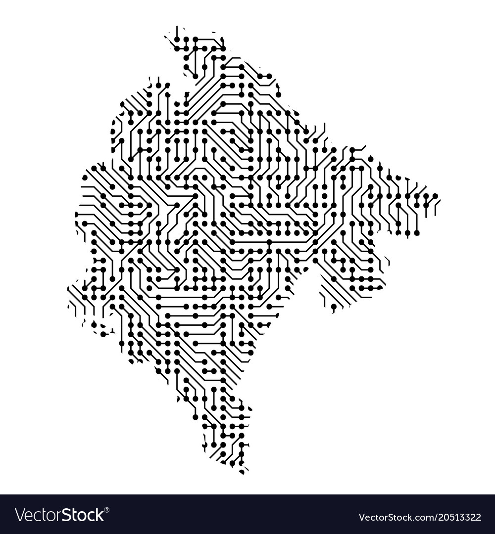 Abstract schematic map of montenegro from the