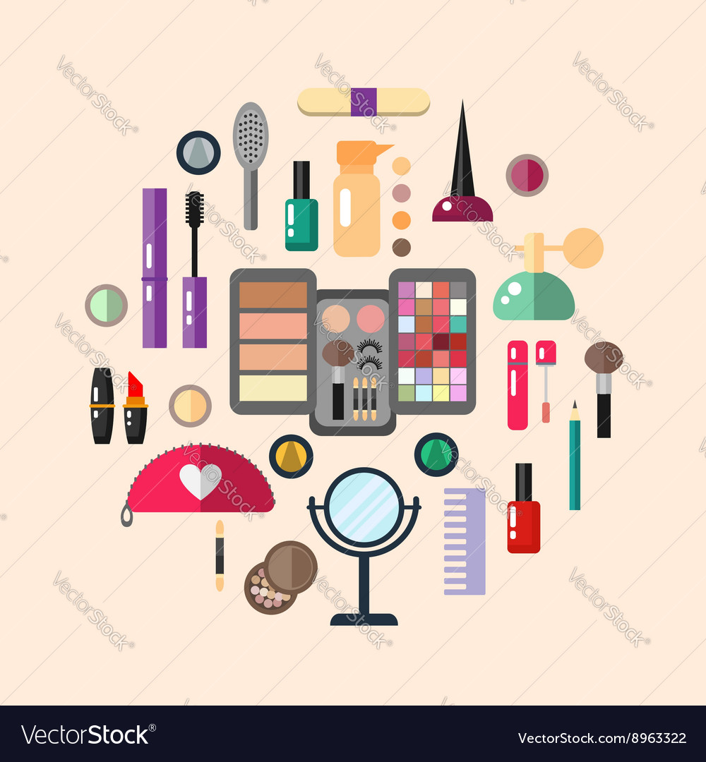 Beauty store with cosmetic objects