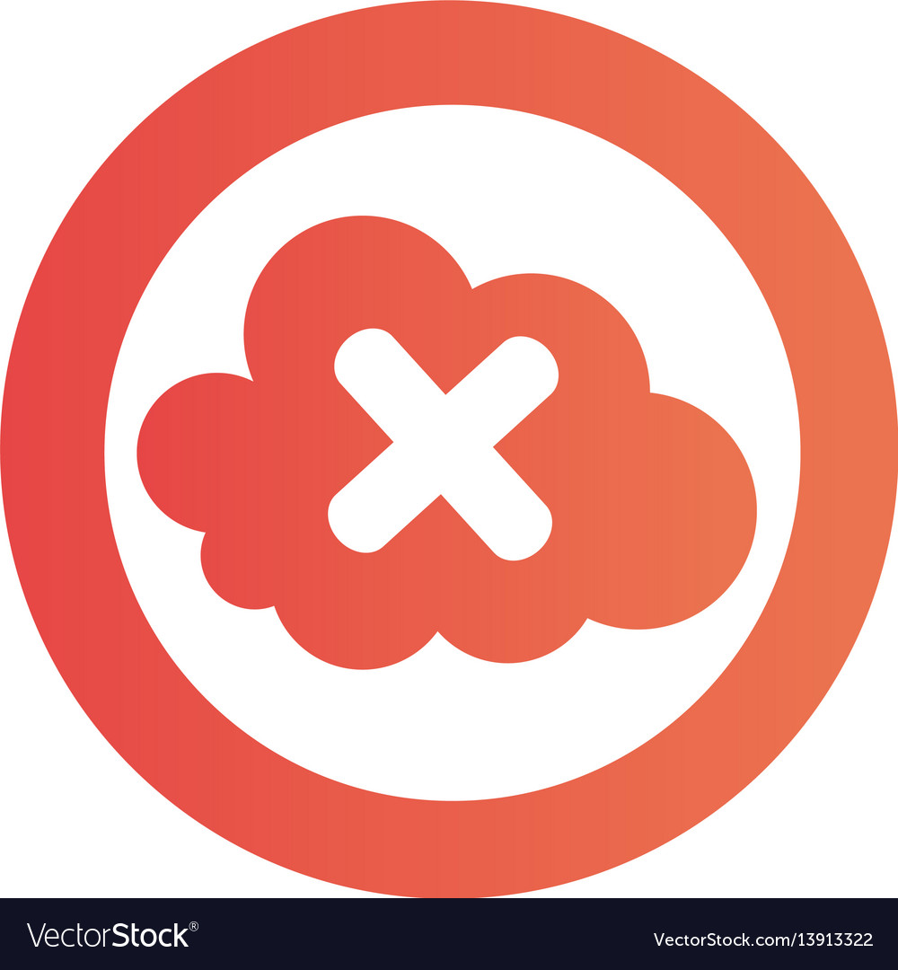 Color circular emblem with disable cloud service vector image