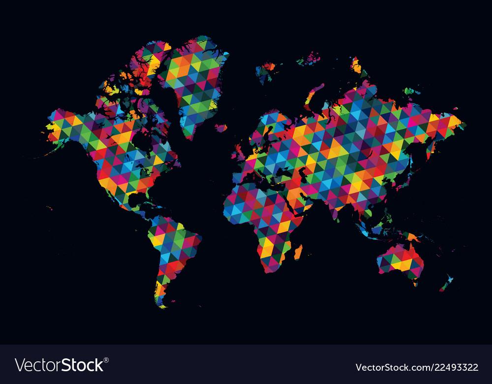 Decorative World Map Modern Geometric Pattern On Vector Image