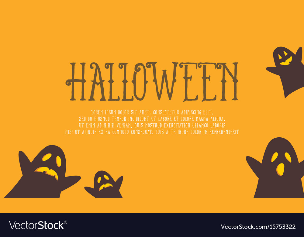 Halloween with ghost on yellow background vector image
