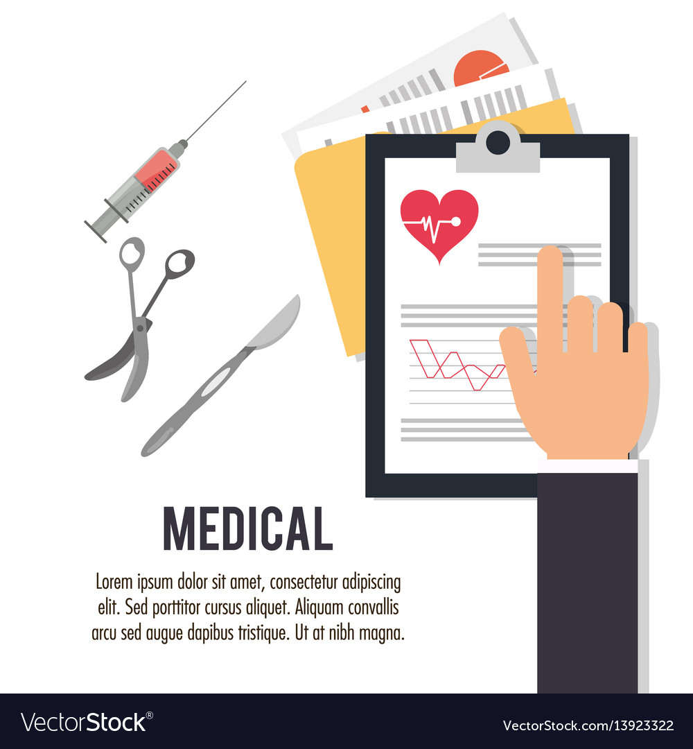 Hand with clipboard scalpel scissors medical vector image