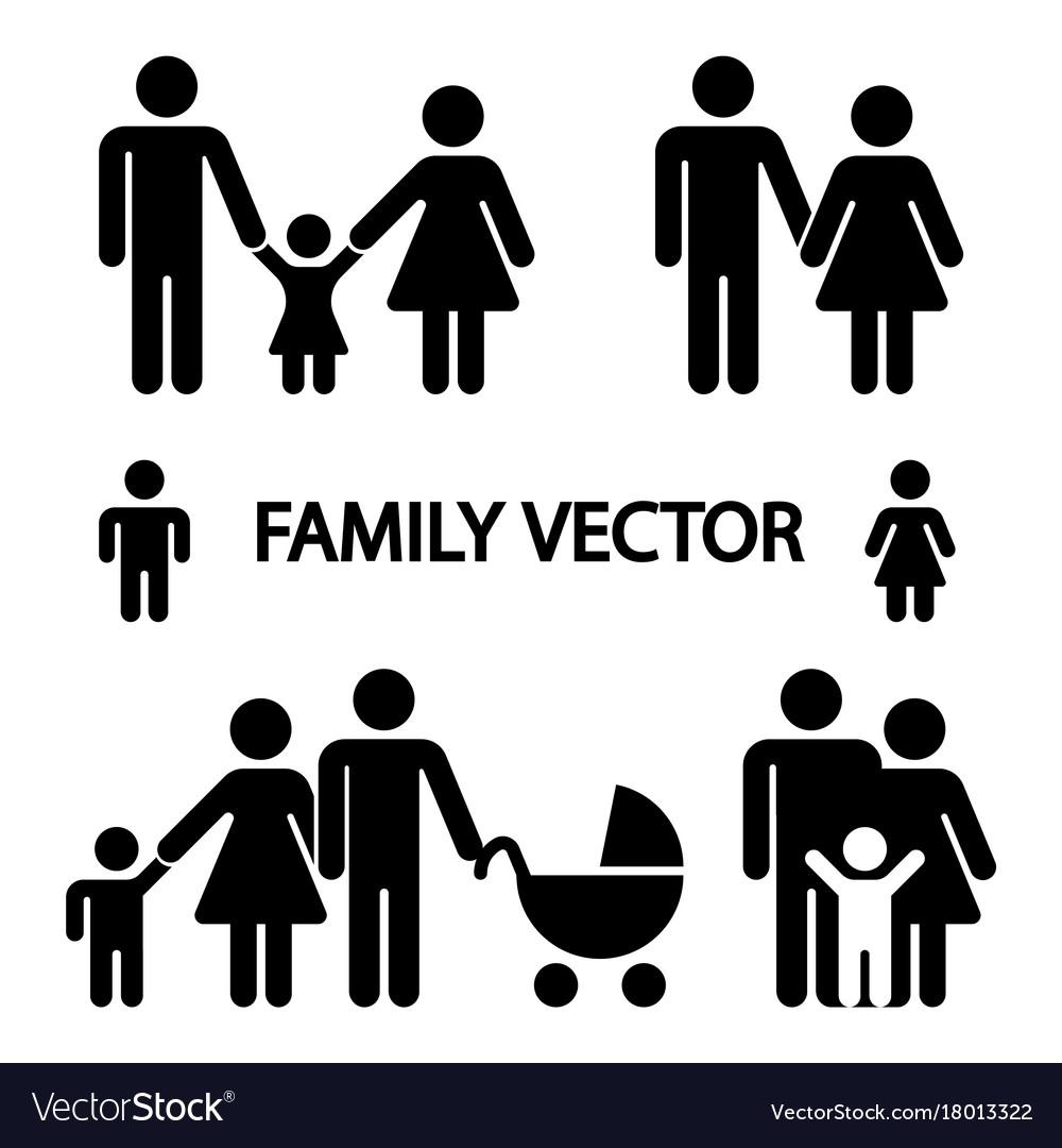 Happy family logos isolated on white background