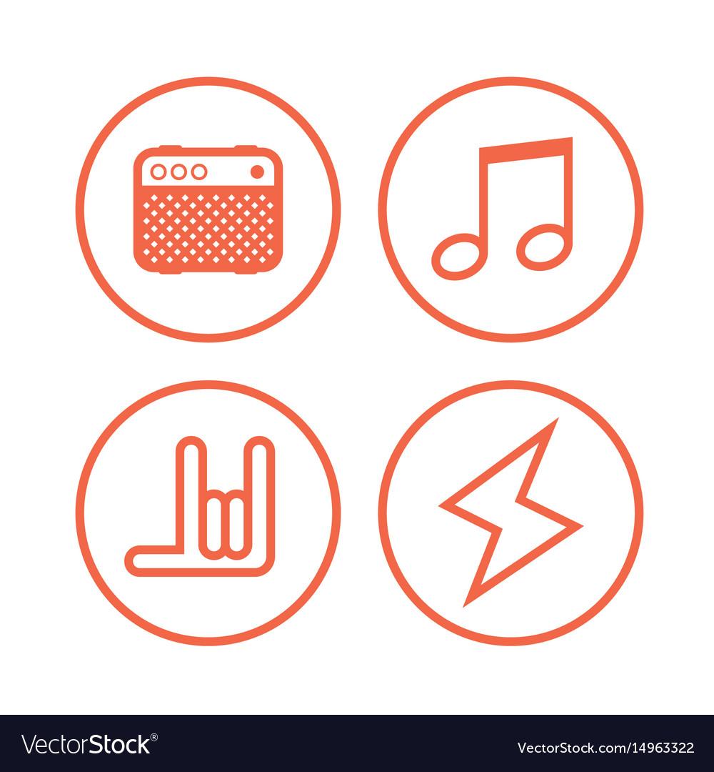 Icon Of Rock Music Symbols Royalty Free Vector Image