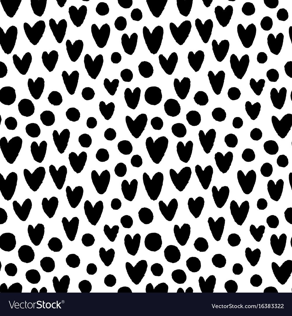 Ink hand drawn hearts and circles seamless pattern vector image