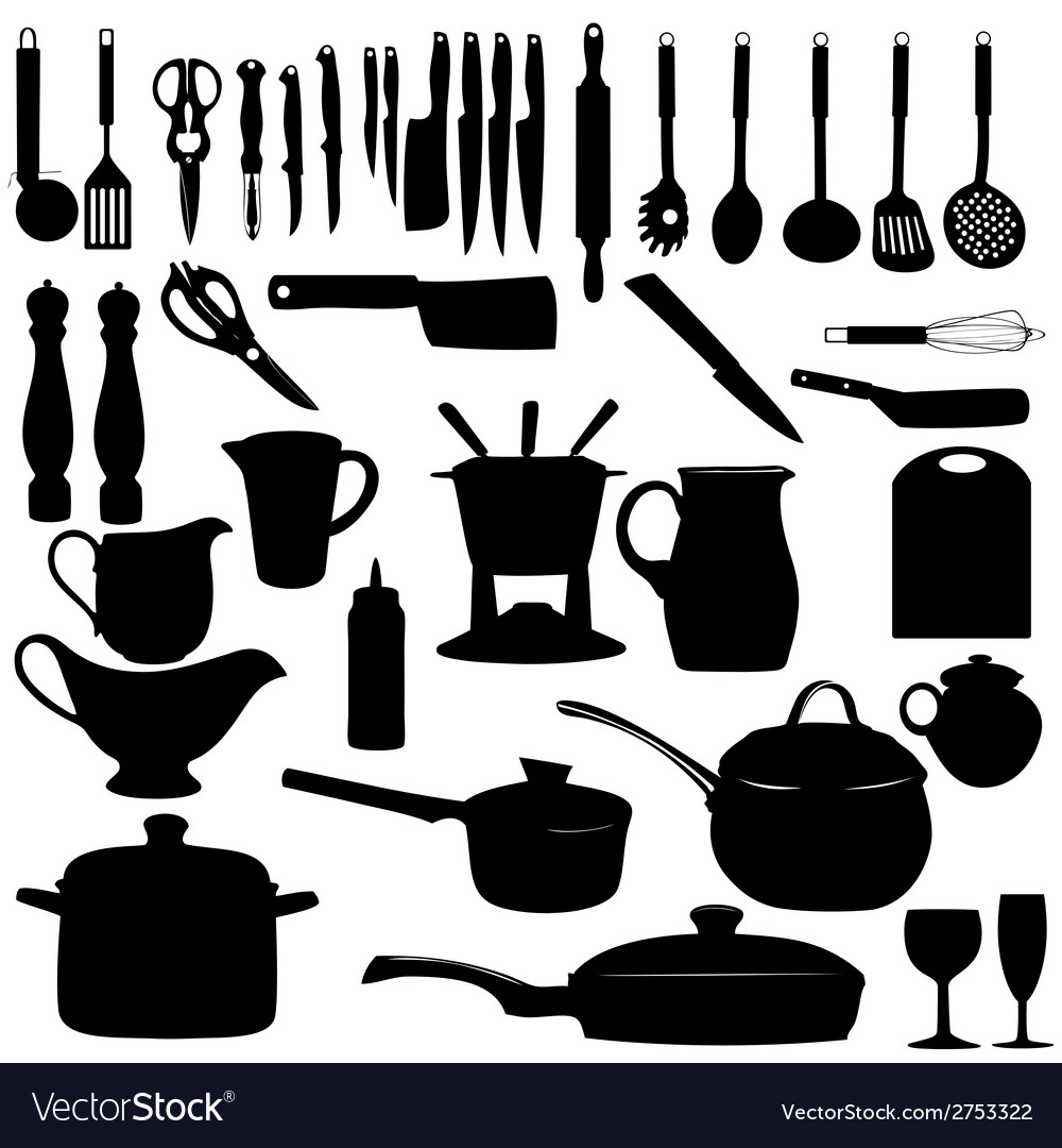 kitchen tools silhouette vector image - Kitchen Tools