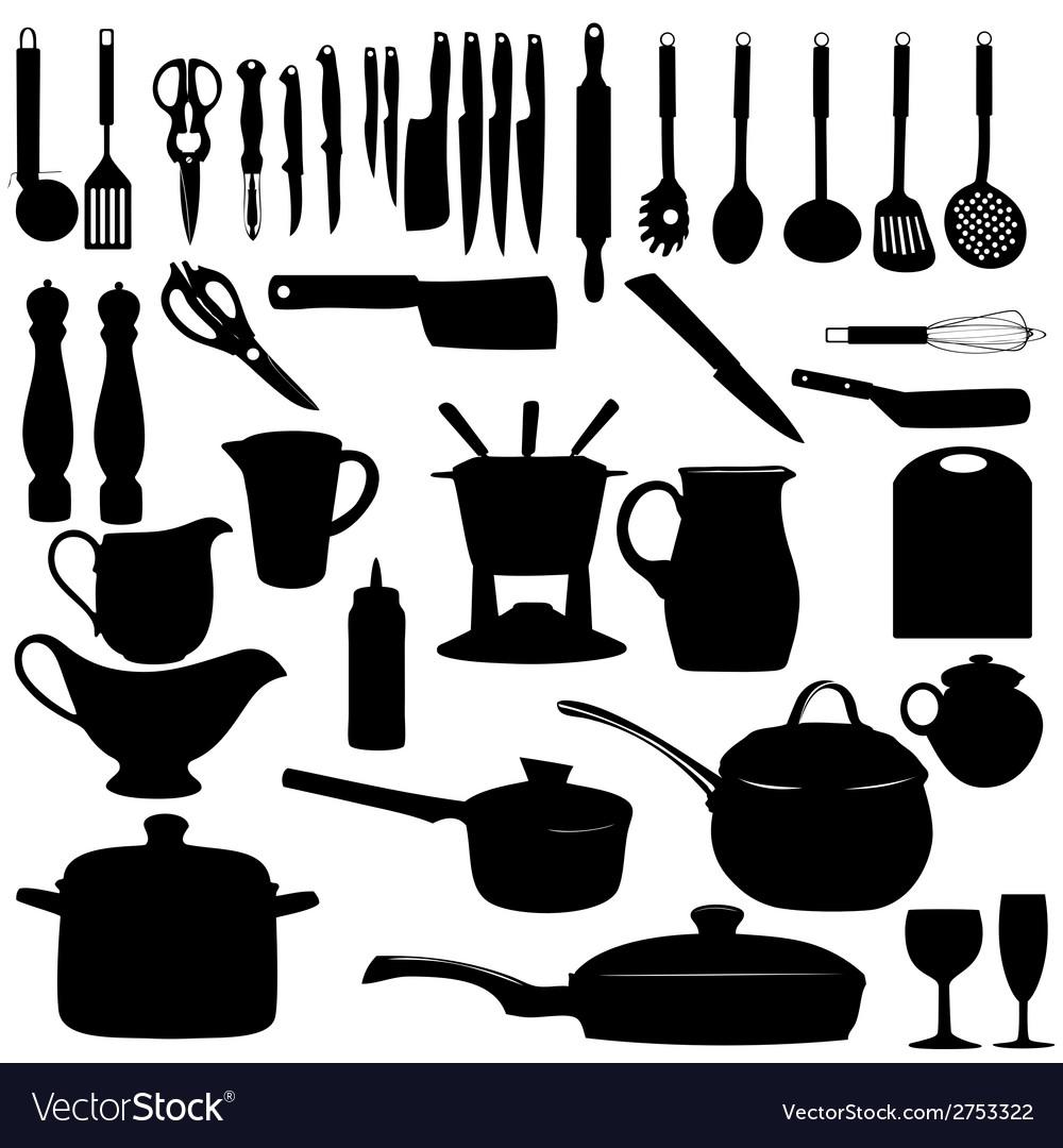 kitchen utensils silhouette vector free. Kitchen Tools Silhouette Vector Image Utensils Free T