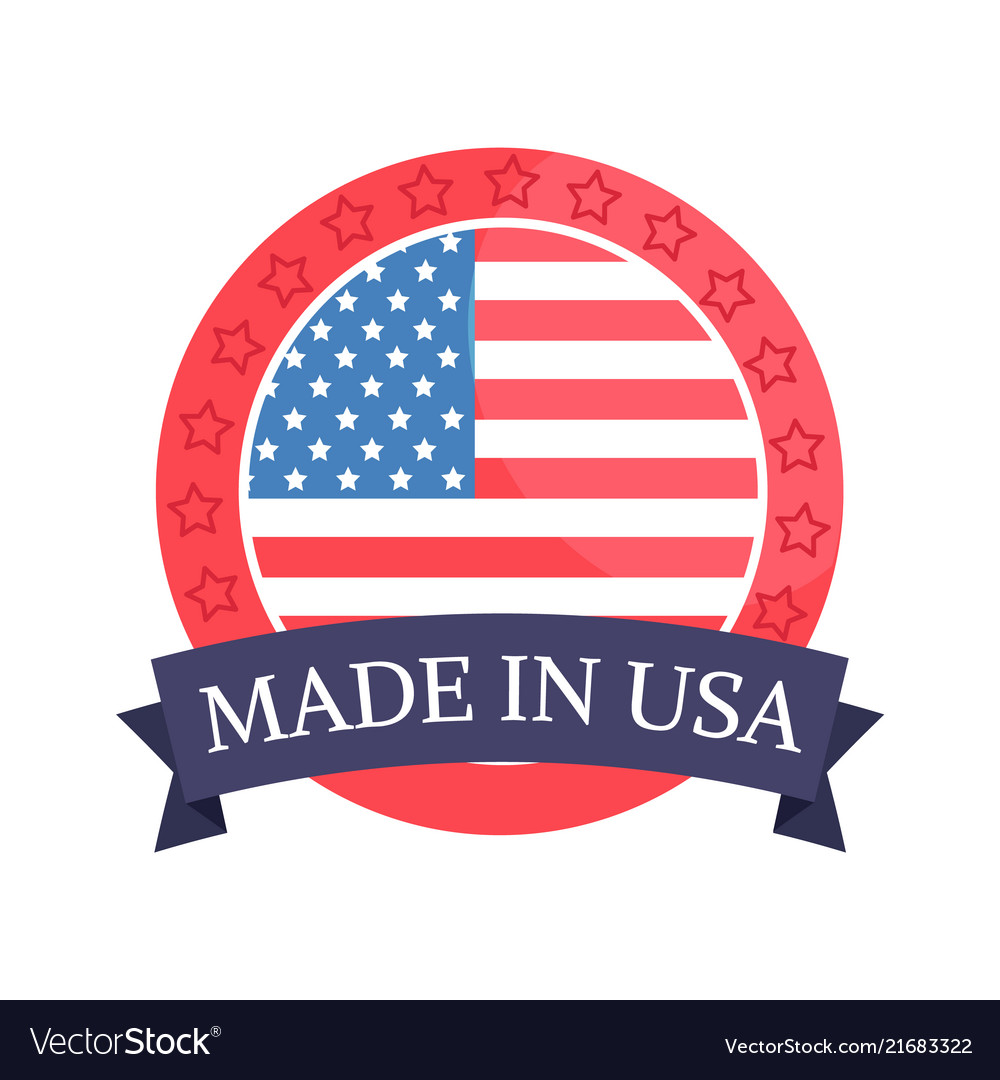 Made in usa sticker with flag