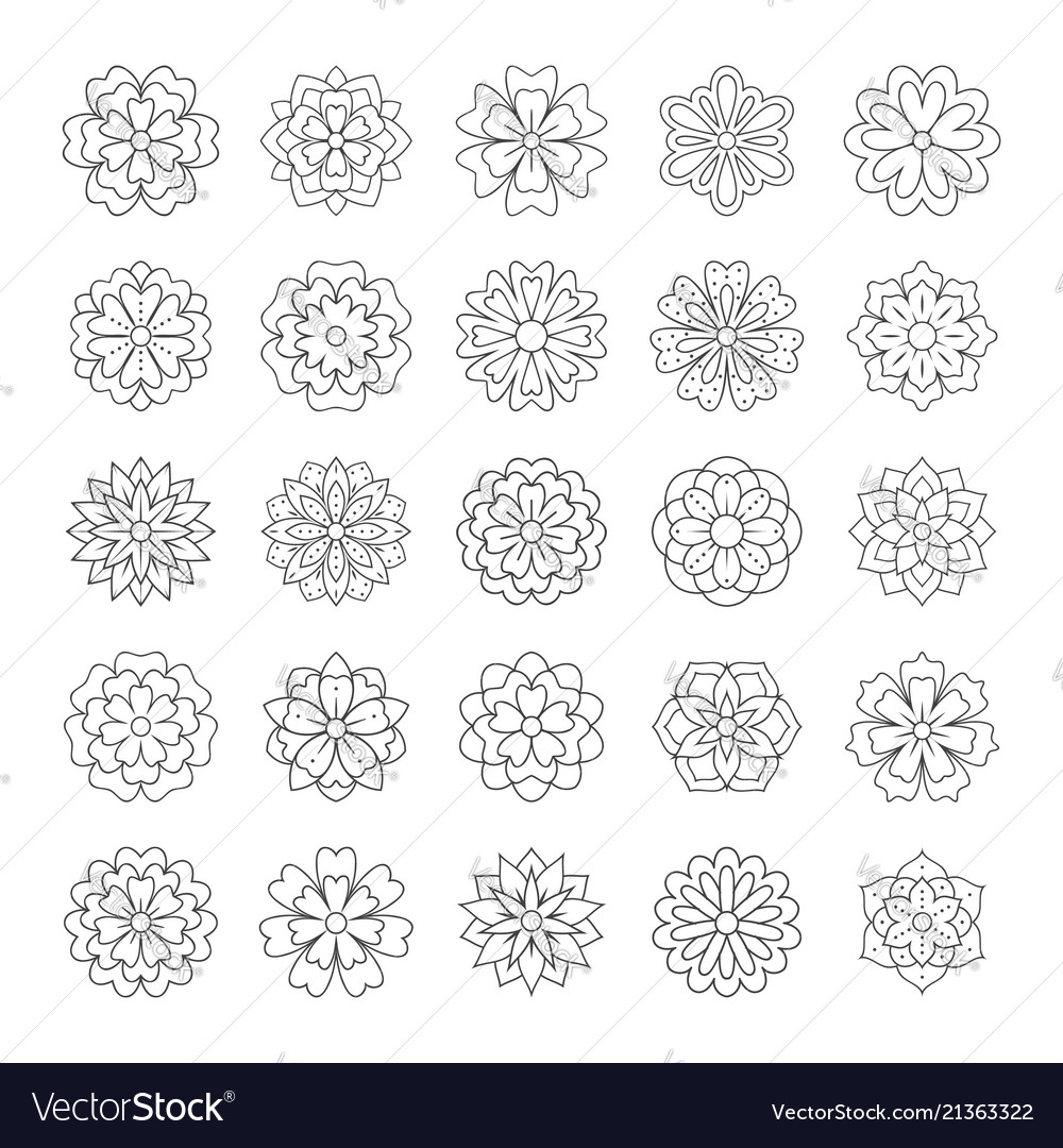 Outline doodle flowers for adult coloring book