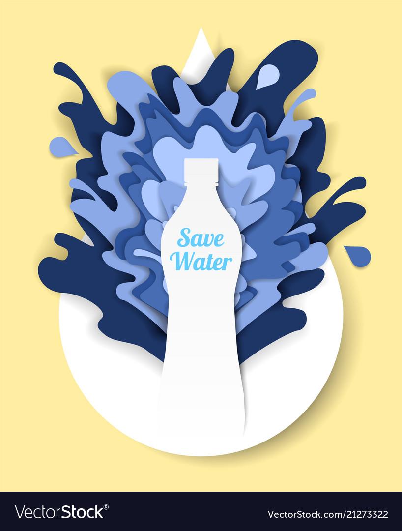 Save water paper cut design template