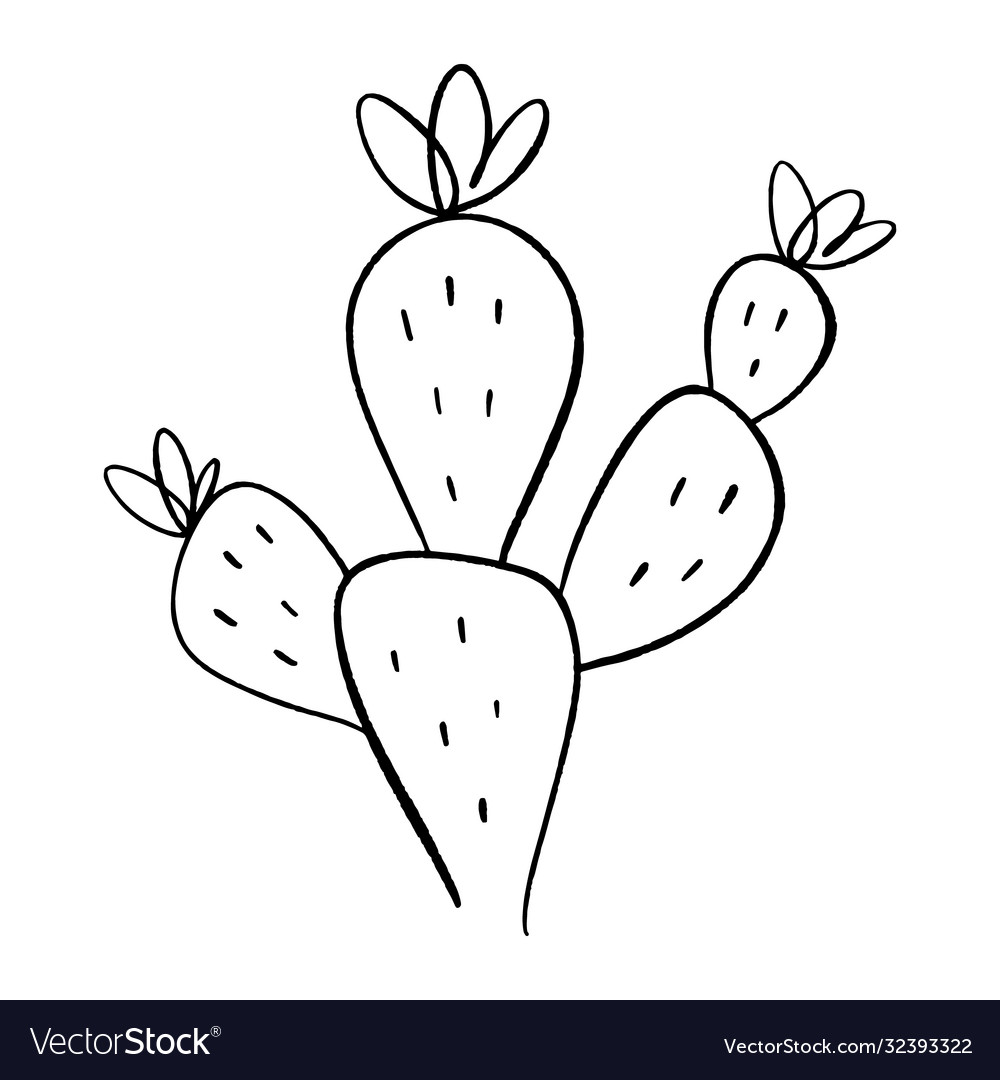 Simple icon cactus one line drawing house