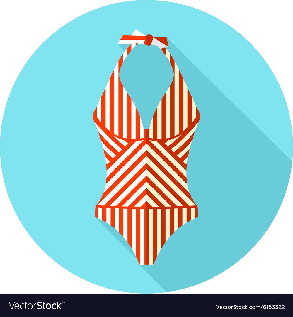 Swimsuit flat icon with long shadow