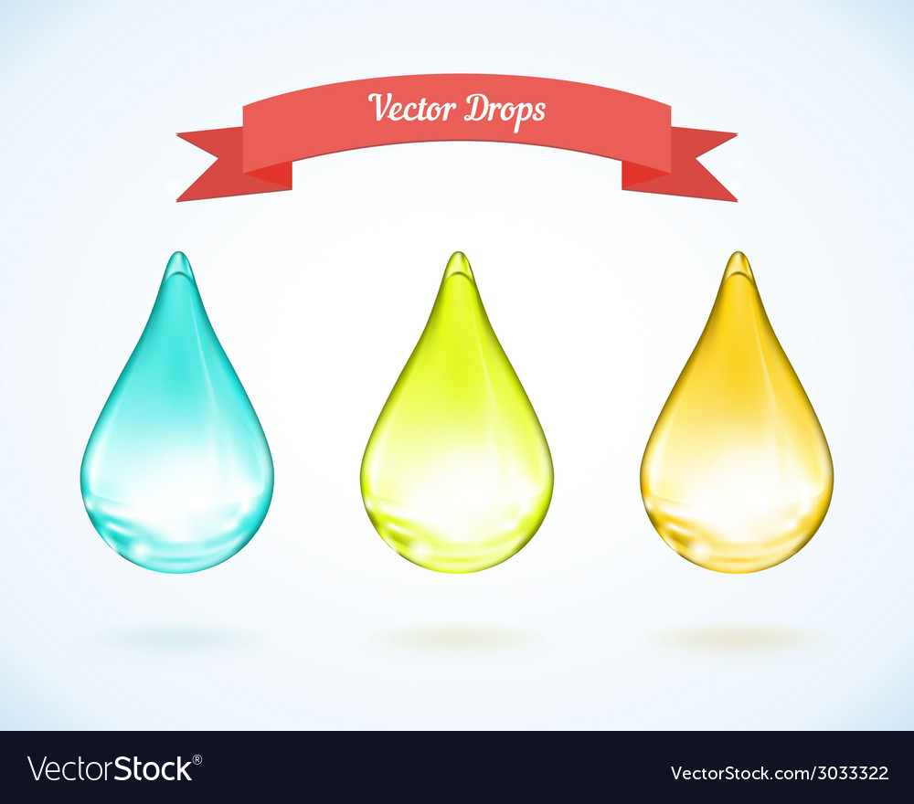 Water drop and drops of oil