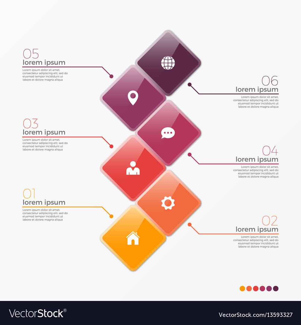 6 option infographic template with squares