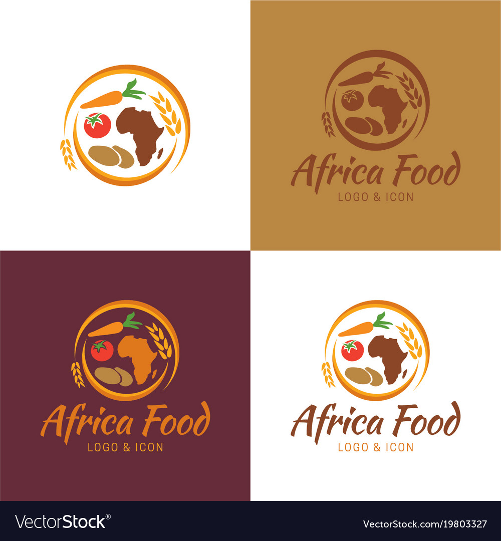 Africa Food Map Logo And Icon Royalty Free Vector Image