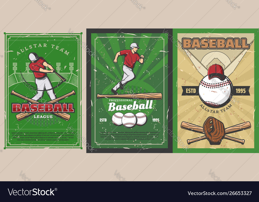Baseball sport players balls and bats on stadium