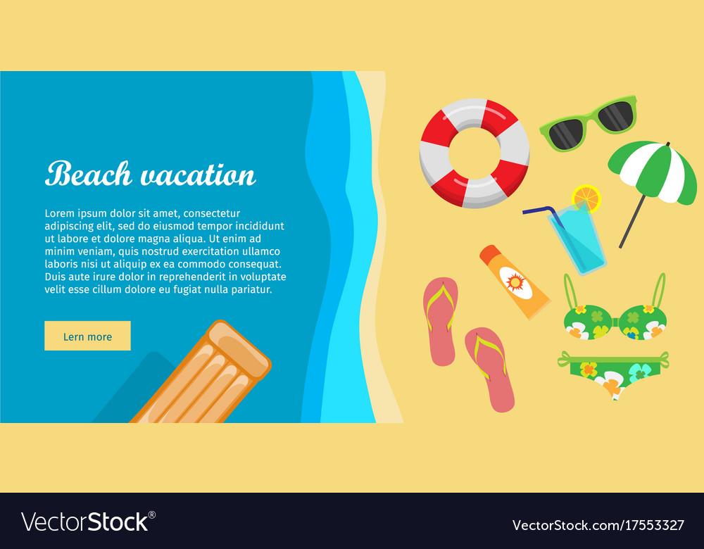 Beach vacation flat design web banner
