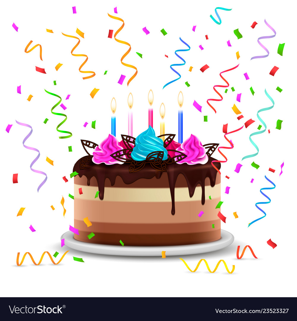 Birthday cake realistic design concept