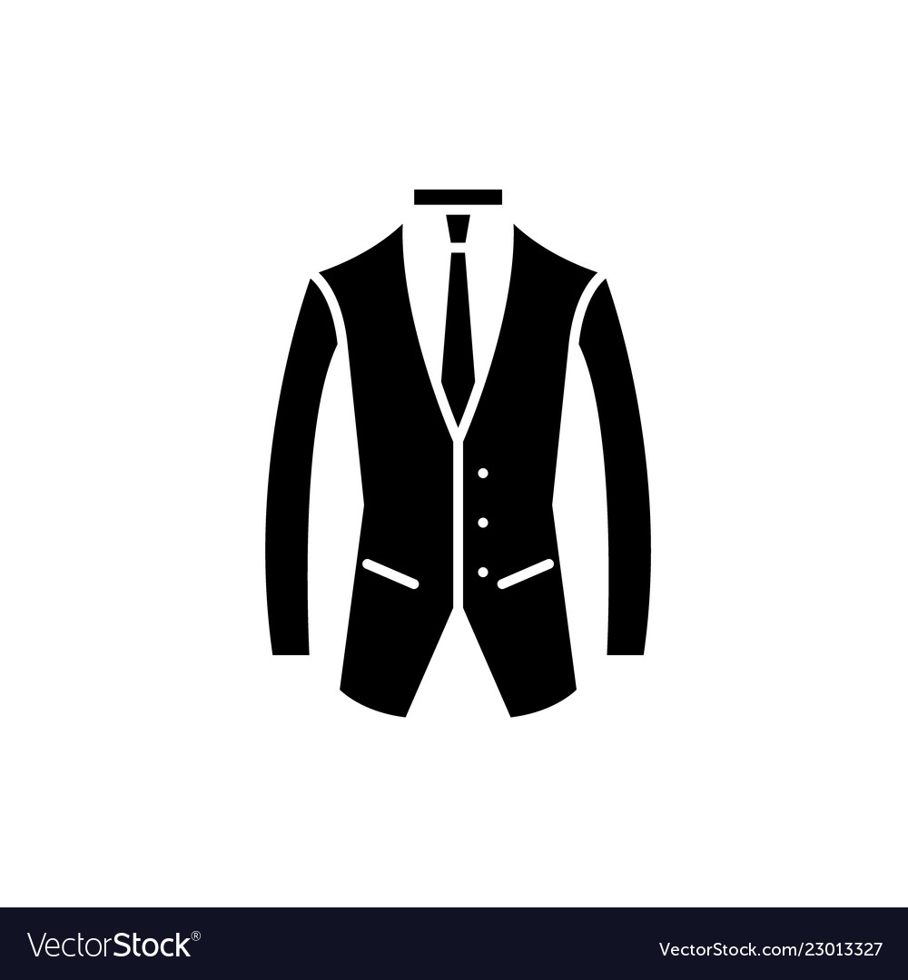 Business suit black icon sign on isolated