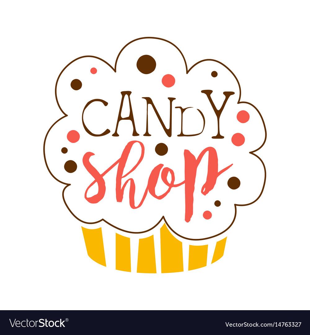 Candy shop logo sweet bakery emblem colorful vector image