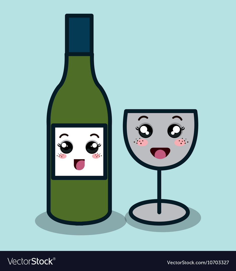 Cartoon bottle wineglass with facial expression