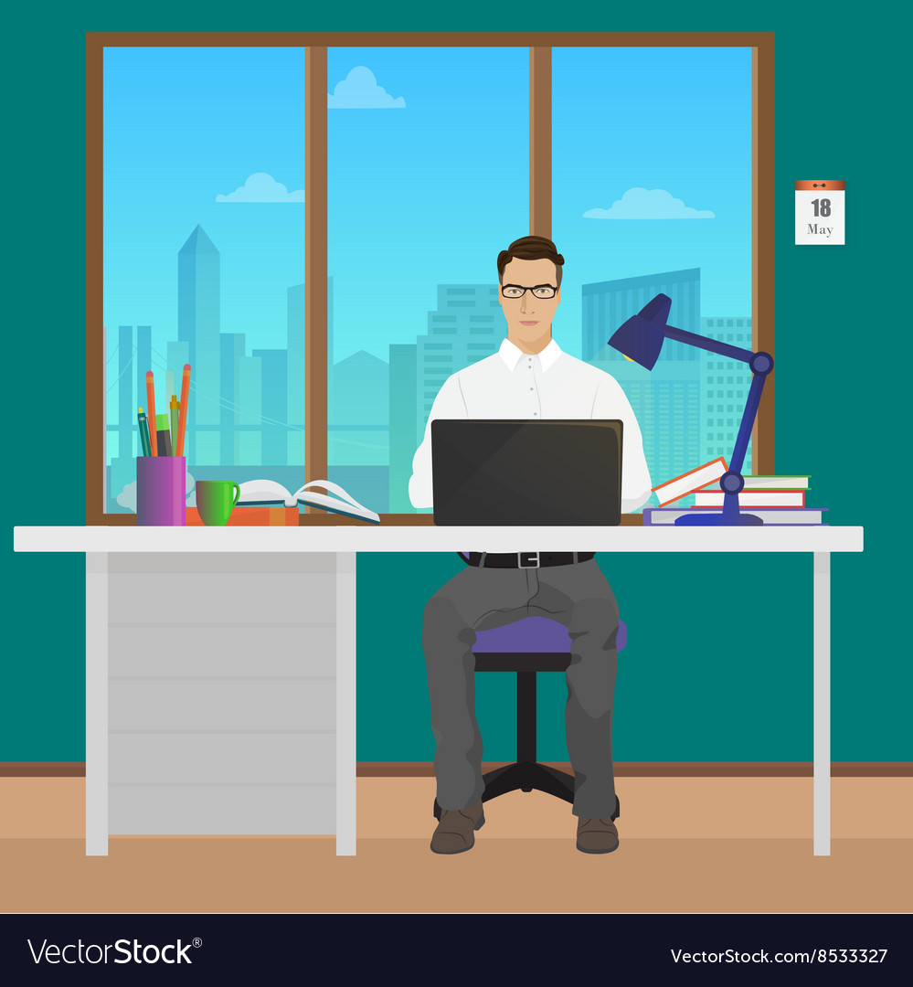 Man office manager in office interior