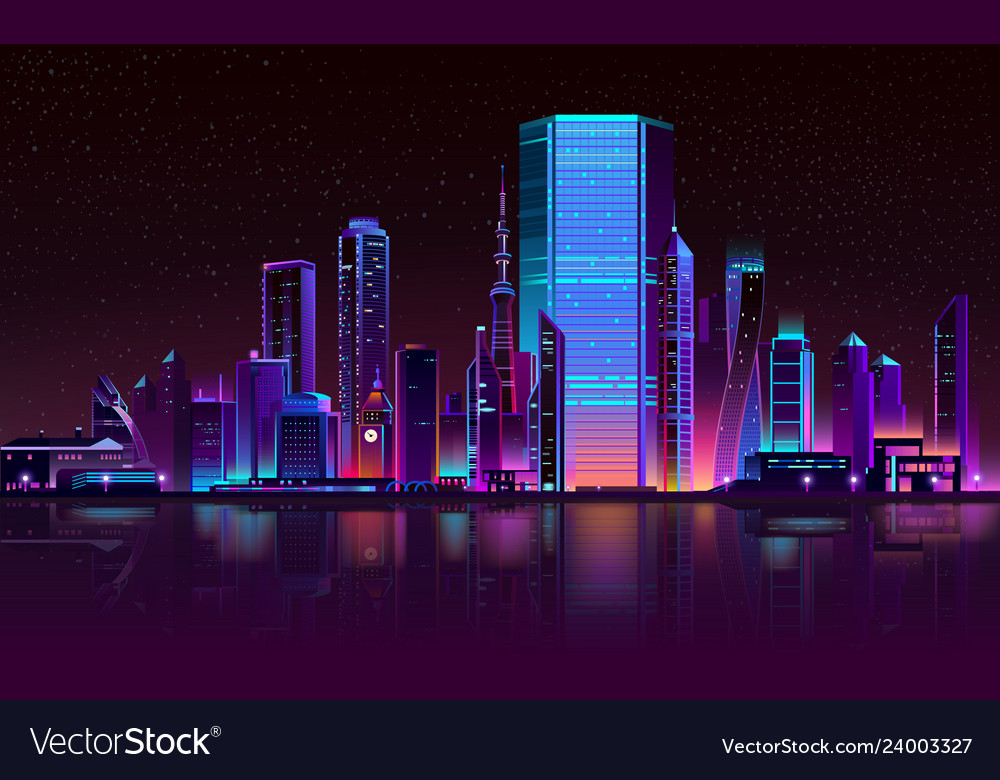 Modern city night skyline neon cartoon