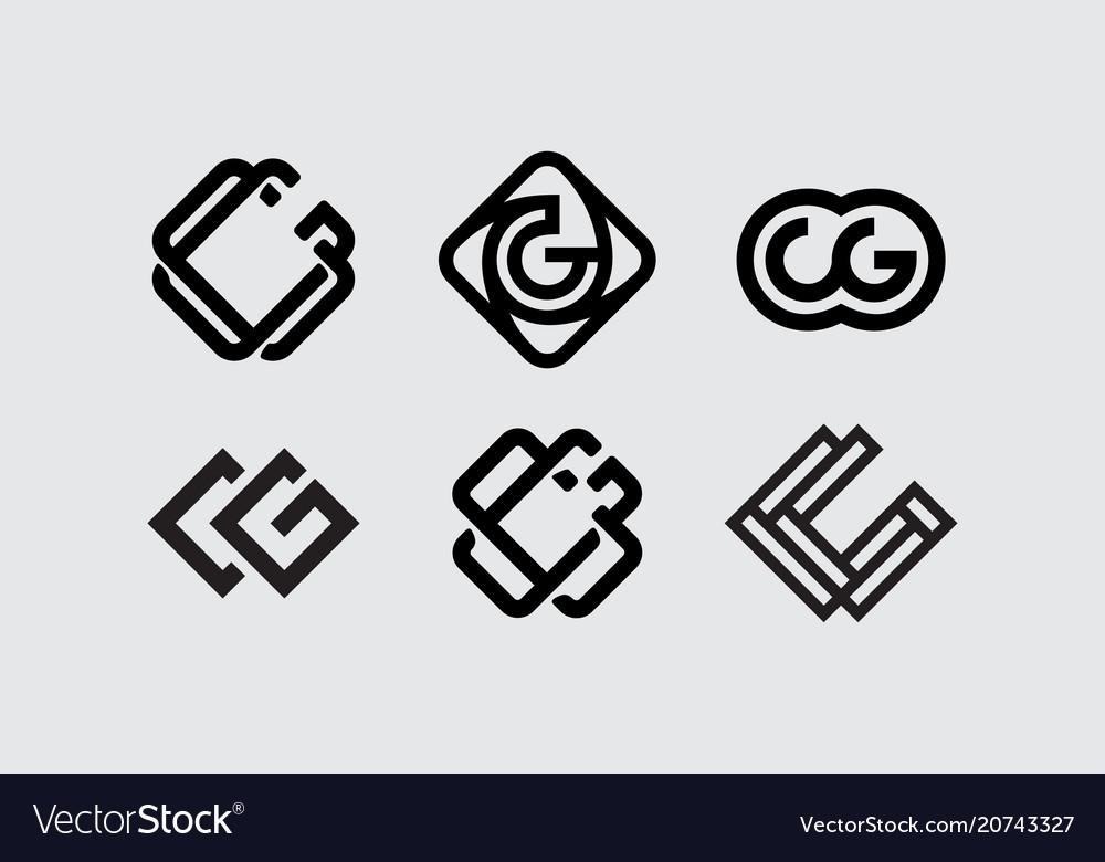 Modern professional set monogram cg on white