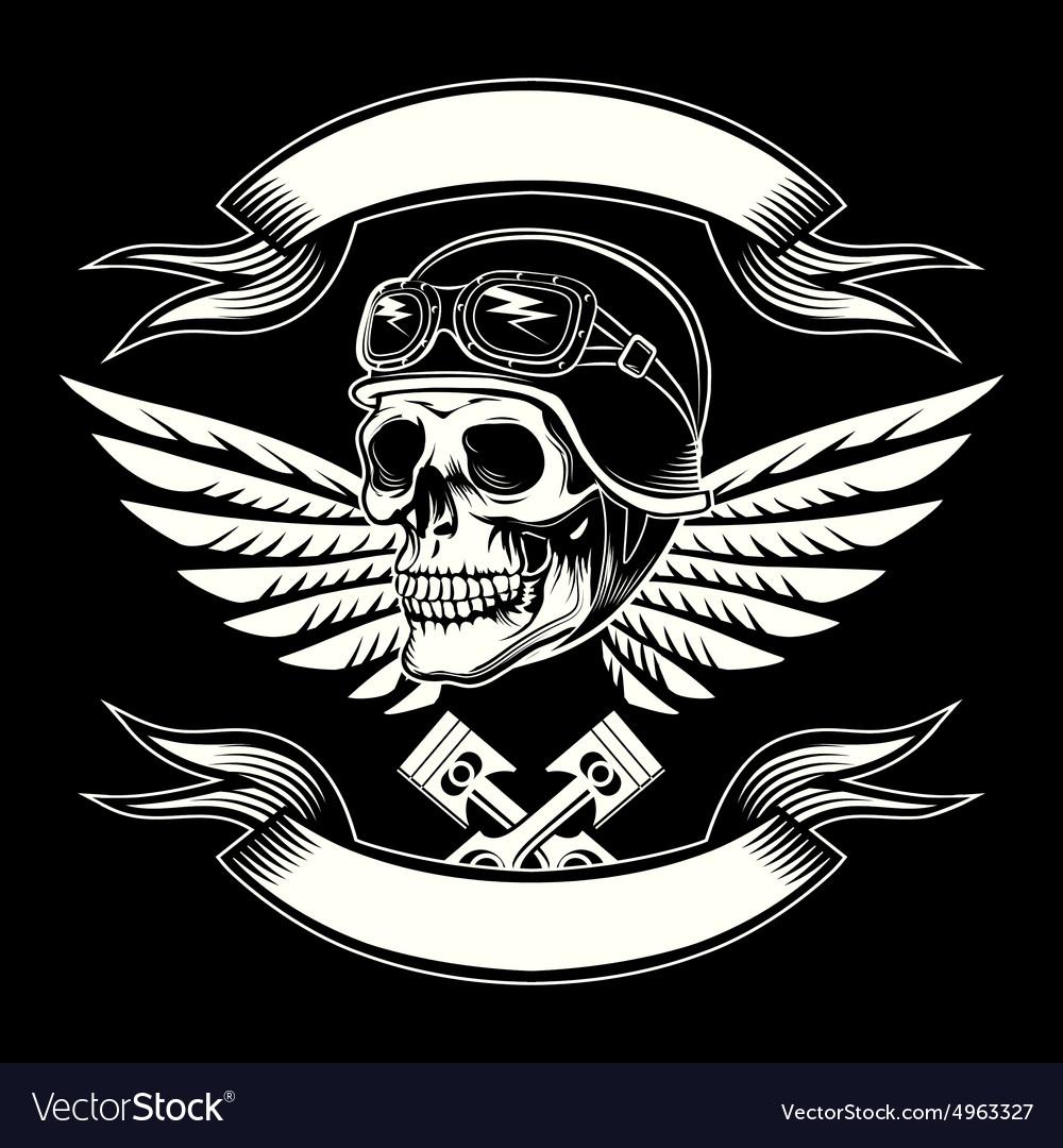 Motor skull graphic Motorcycle vintage vector image