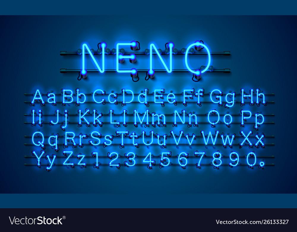 Neon city color blue font english alphabet and