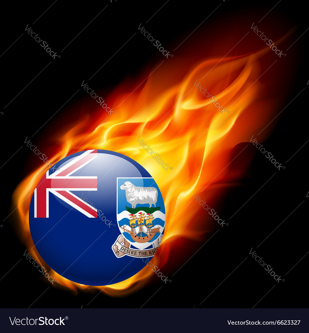 Round glossy icon of falkland islands vector image