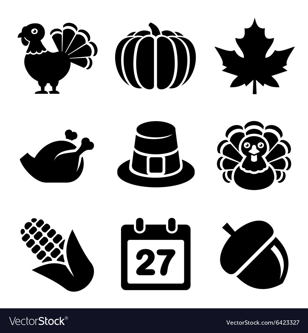 Thanksgivin icons set isolated on white background