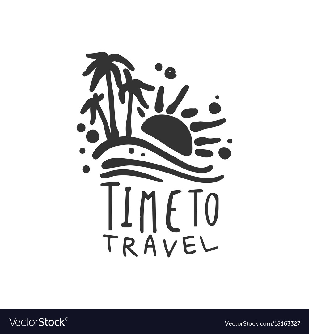 Time to travel logo with summer sun and palm trees