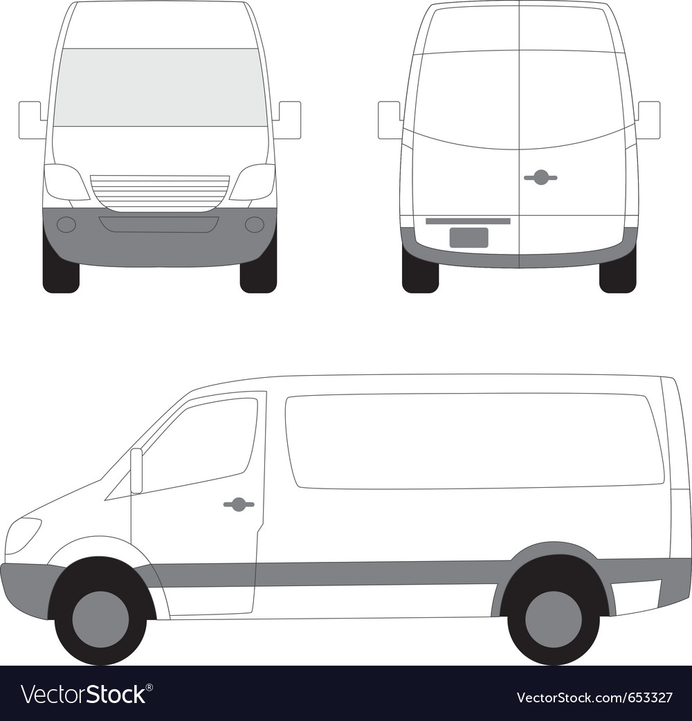 b7fe6310cb White delivery van side front view Royalty Free Vector Image