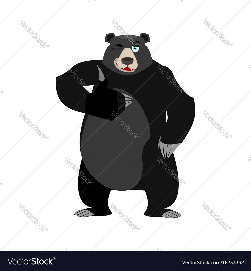 Baribal winks emoji american black bear thumbs up