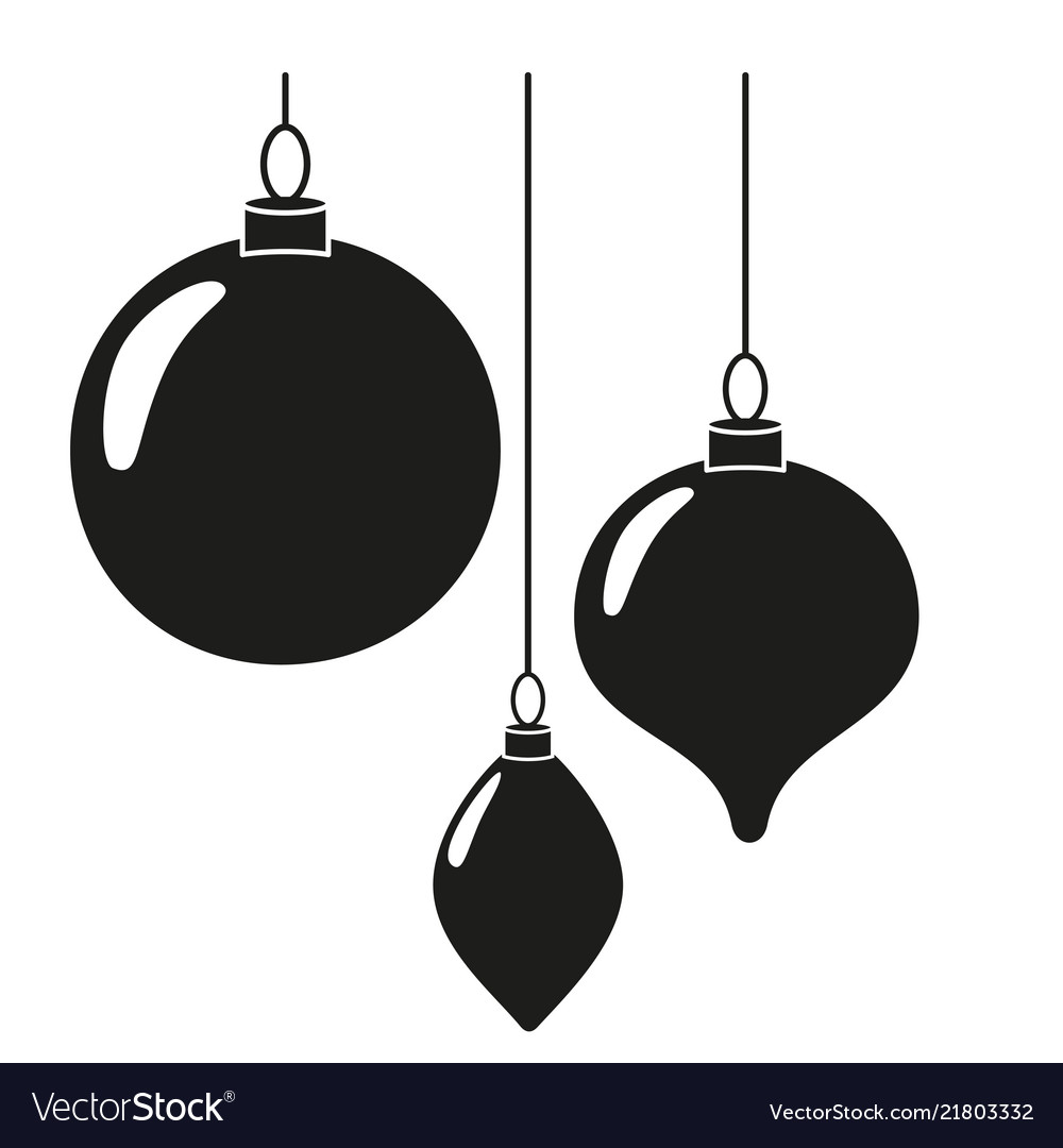 Black white christmas tree decorations silhouette Vector Image