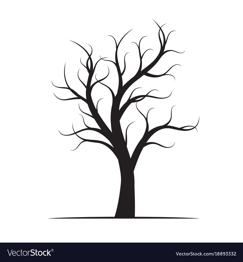 Black winter naked tree vector image