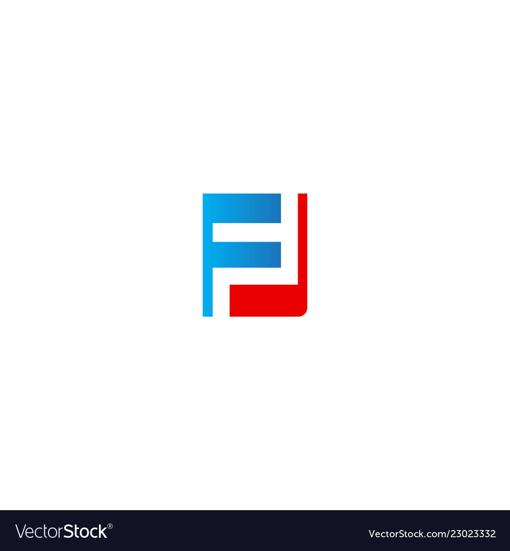 F initial colored company logo