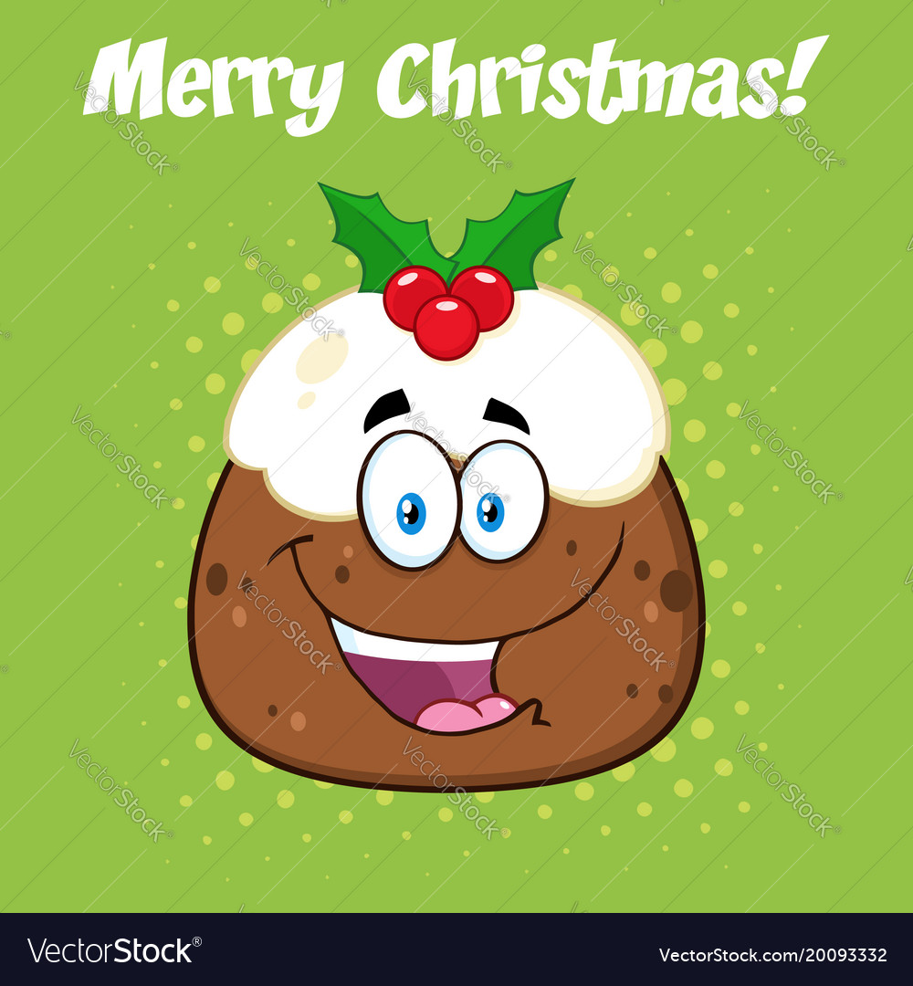 Happy christmas pudding cartoon character