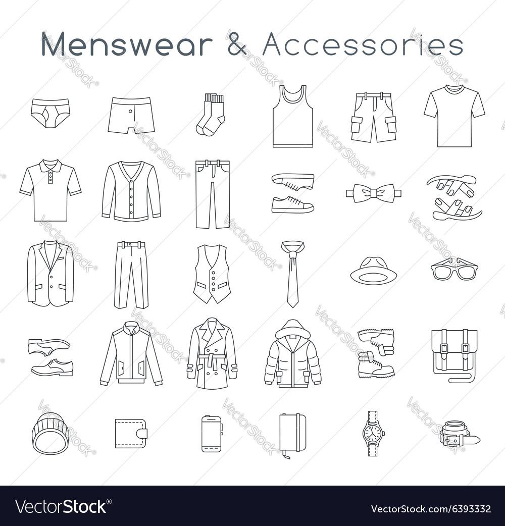 Men fashion clothes accessories flat line icons
