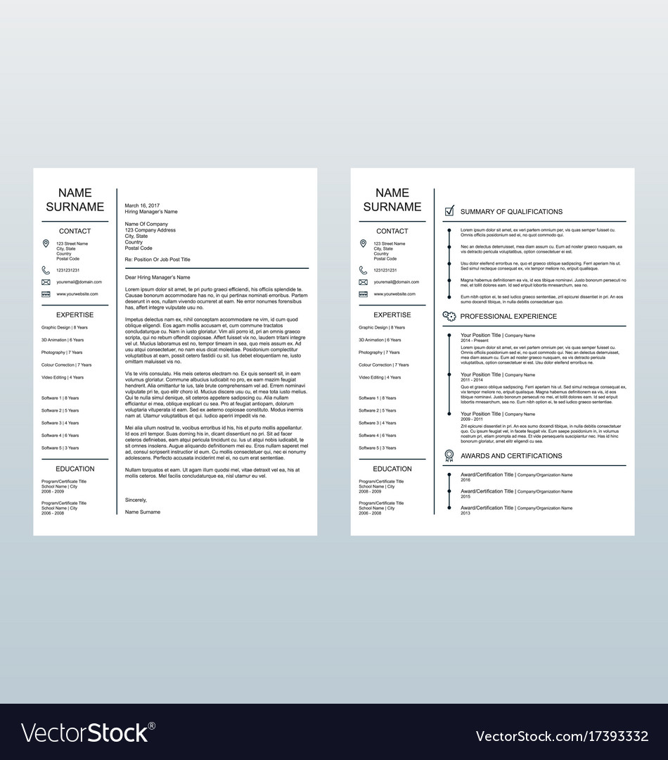 Minimalist cover letter and resume template
