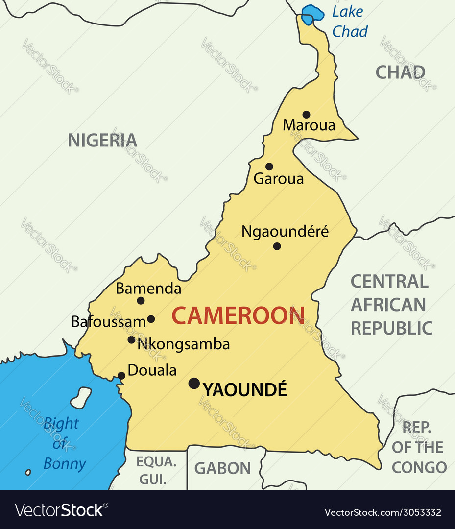Republic of Cameroon map Royalty Free Vector Image