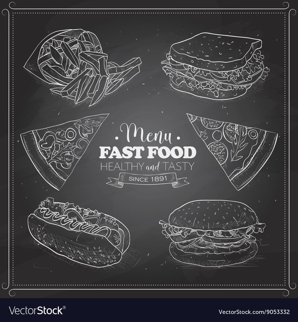 Scetch fast food menu on a black board
