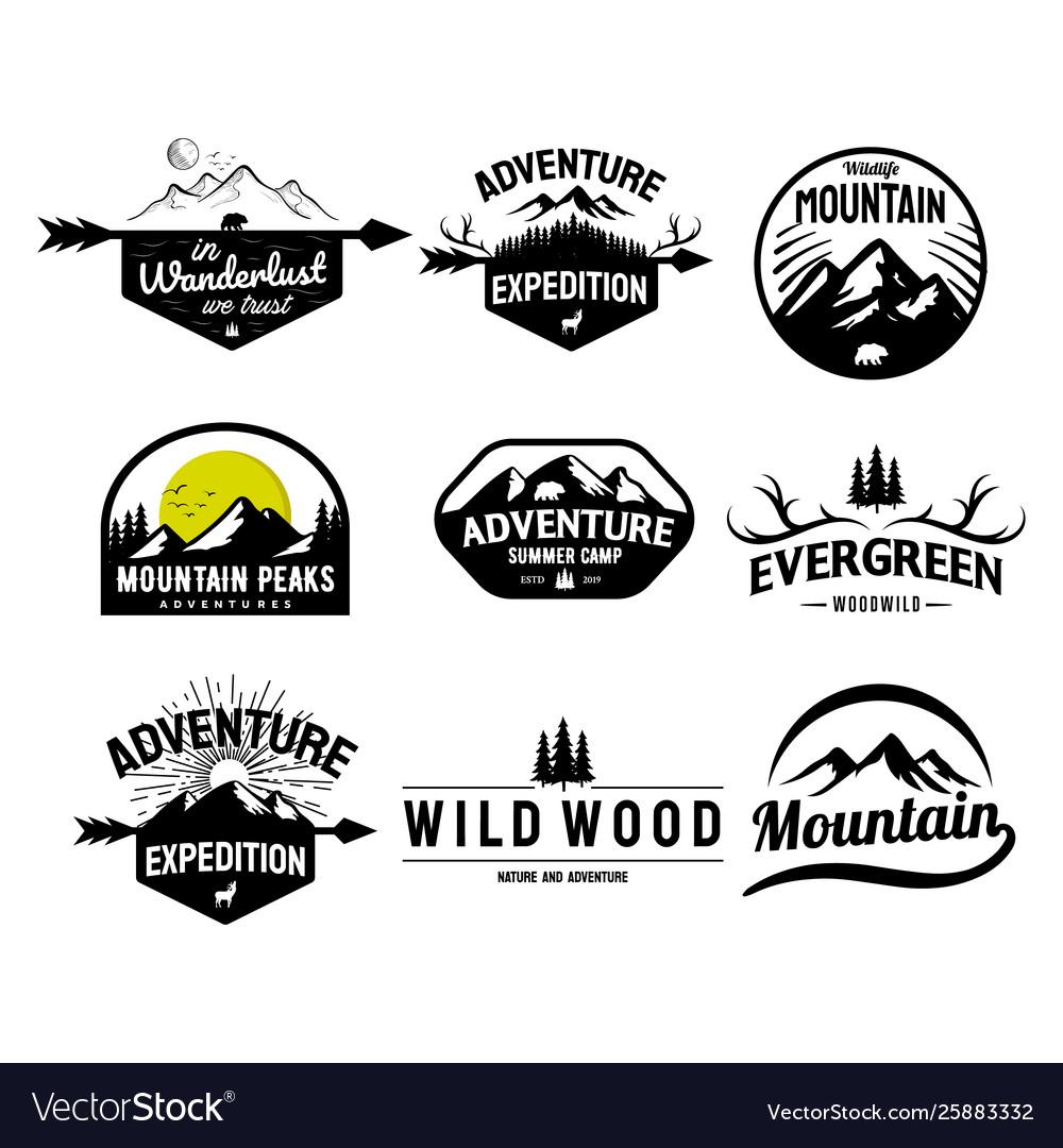 Set mountain and outdoor adventures logo
