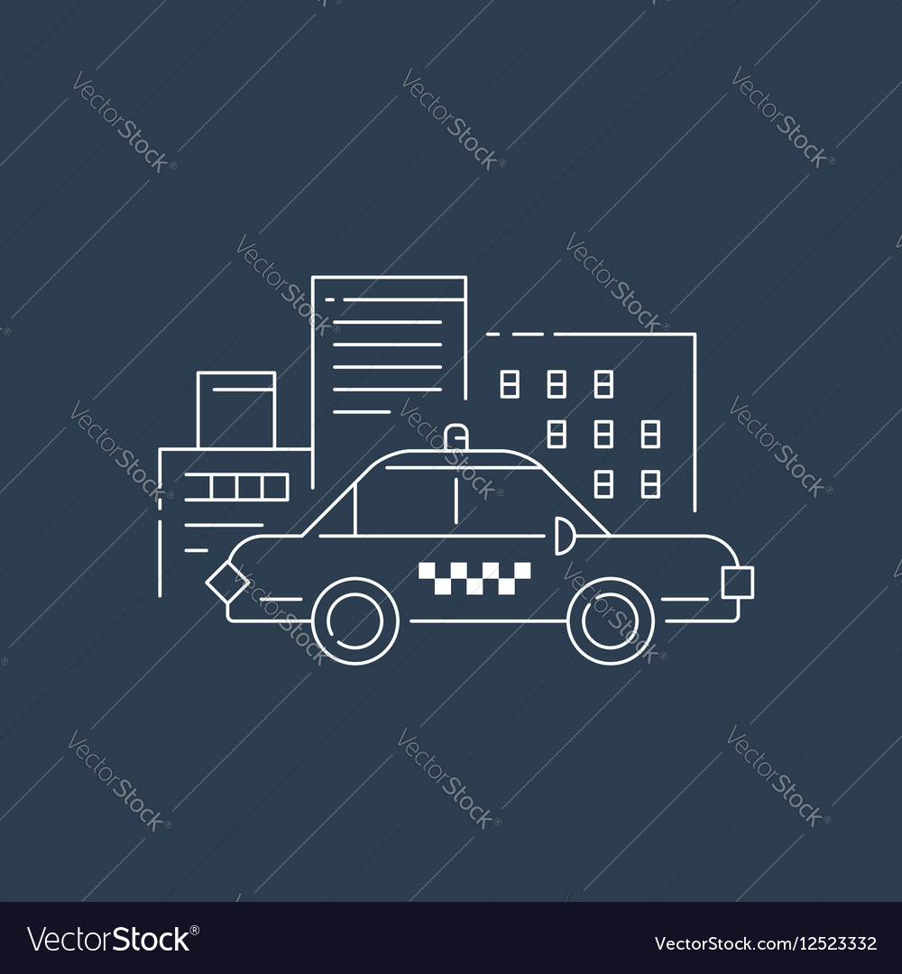 Taxi car and buildings concept
