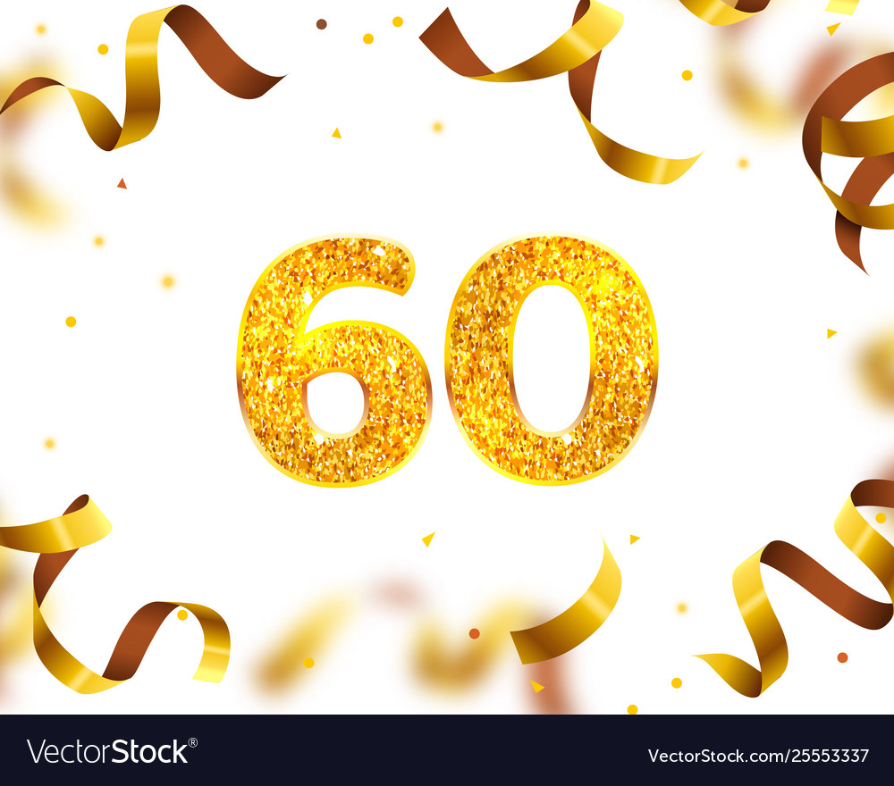 Anniversary banner 60th gold ribbon fly