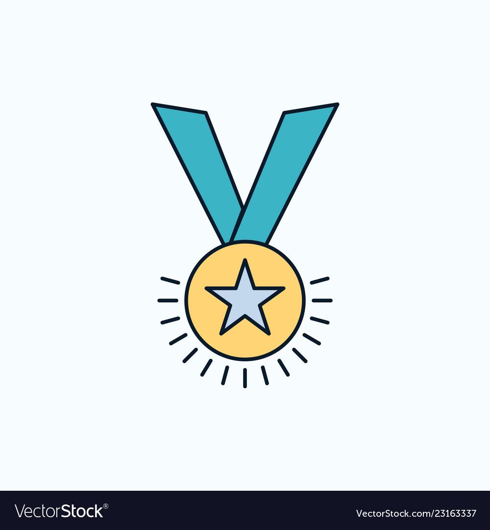 Award honor medal rank reputation ribbon flat