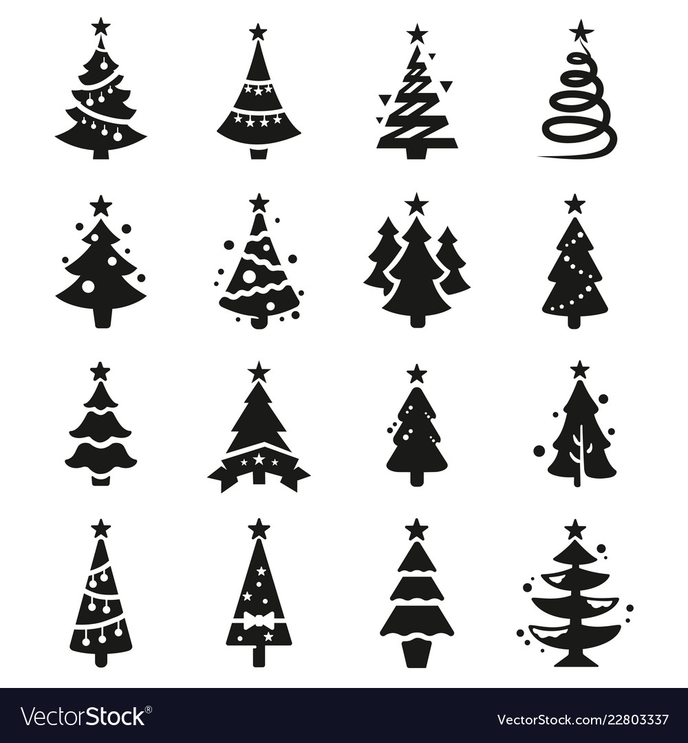 Black Icon Set Of Christmas Tree