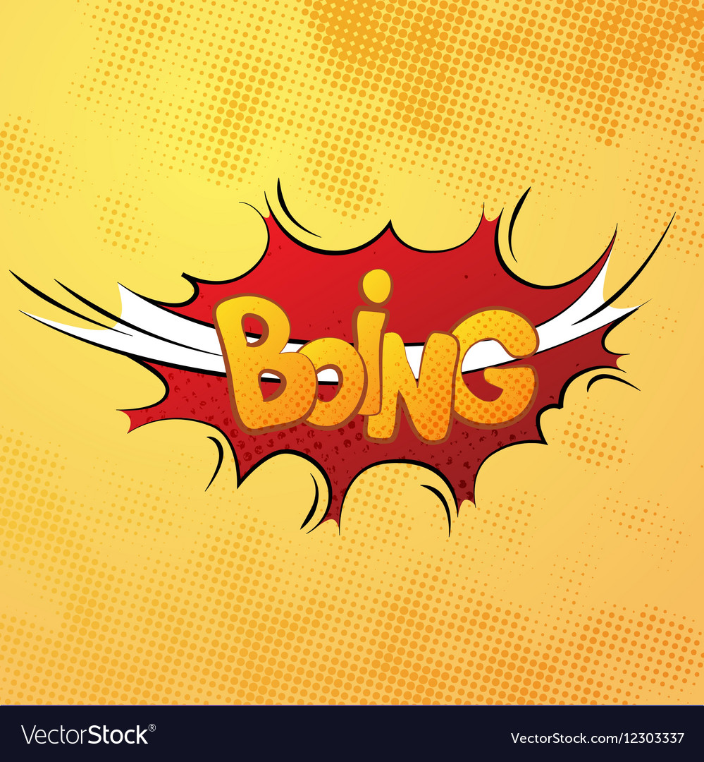 Boing comics sound effect with halftone pattern on