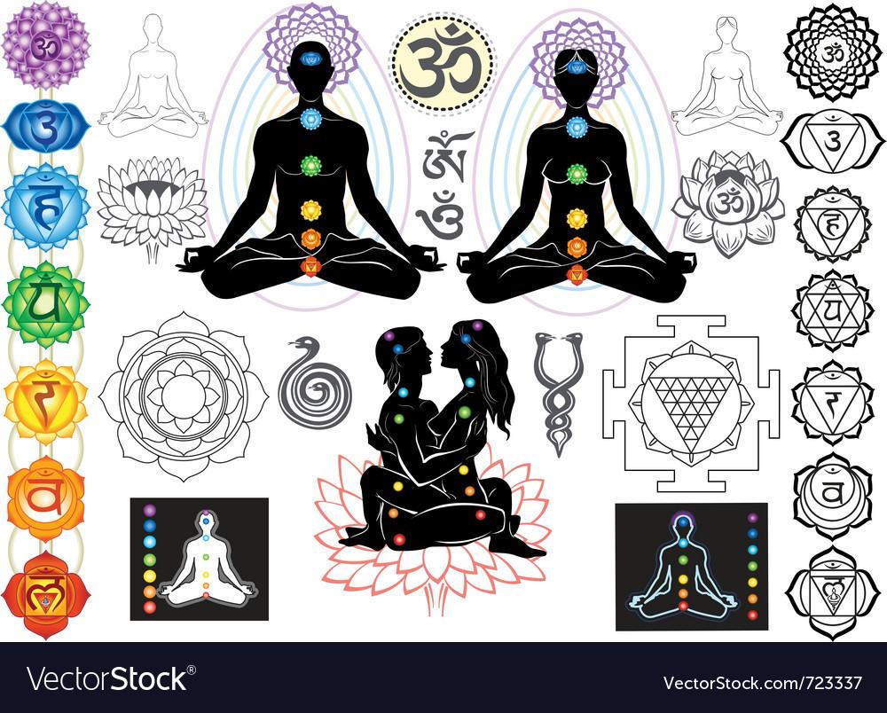 Chakras and esoteric symbols vector image